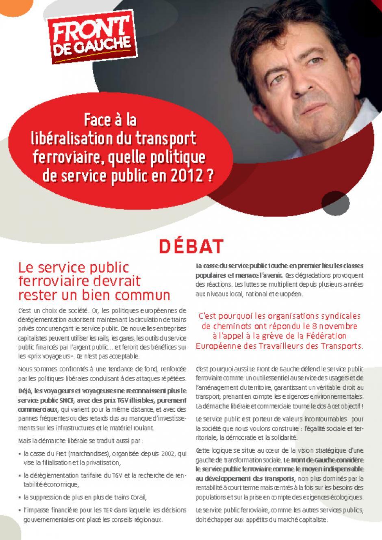Face à la libéralisation du transport ferroviaire, quelle politique de service public en 2012 ?